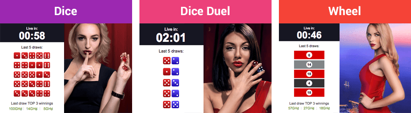 Betway Dice, Dice duel and Wheel games
