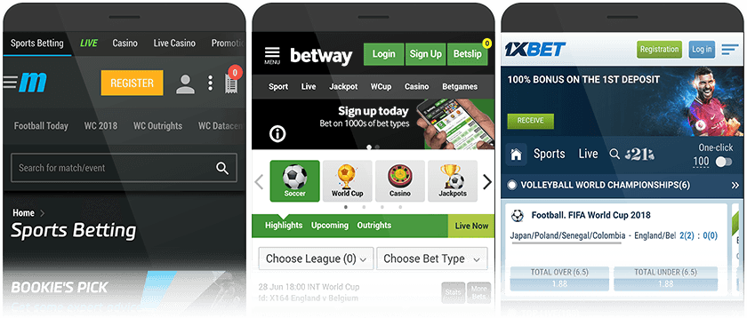 Mybet mobile, Betway mobile and 1xBet mobile
