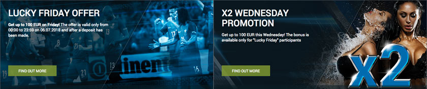 1xbet bonus Lucky Friday and X2 Wednesday Promotion