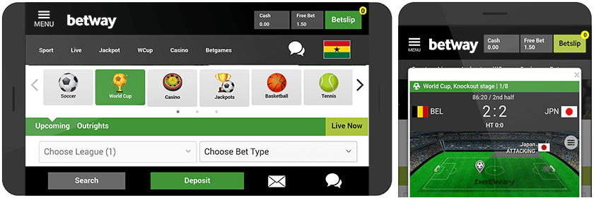 Betway mobile look