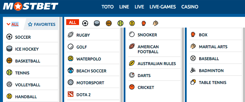 Mostbet offered sport types and events