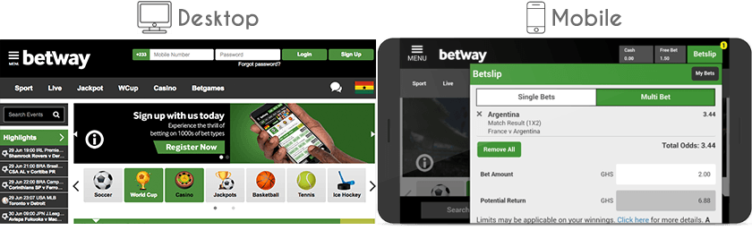 Betway website and mobile version
