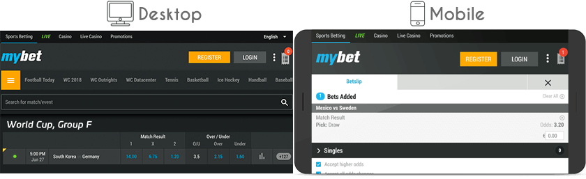 Mybet website and mobile version