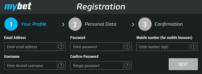 Mybet registration step 1