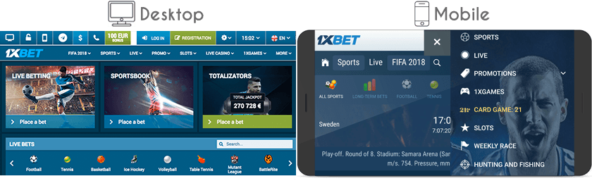 1xbet website and mobile version