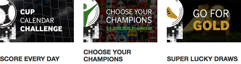 Betway Score every day, Choose your champions, Super lucky draws